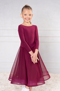 JR-B2 - GIRLS DANCE AMERICA BALLROOM DANCE BODYSUIT WITH LONG LYCRA SLEEVES AND MATCHING LONG SKIRT