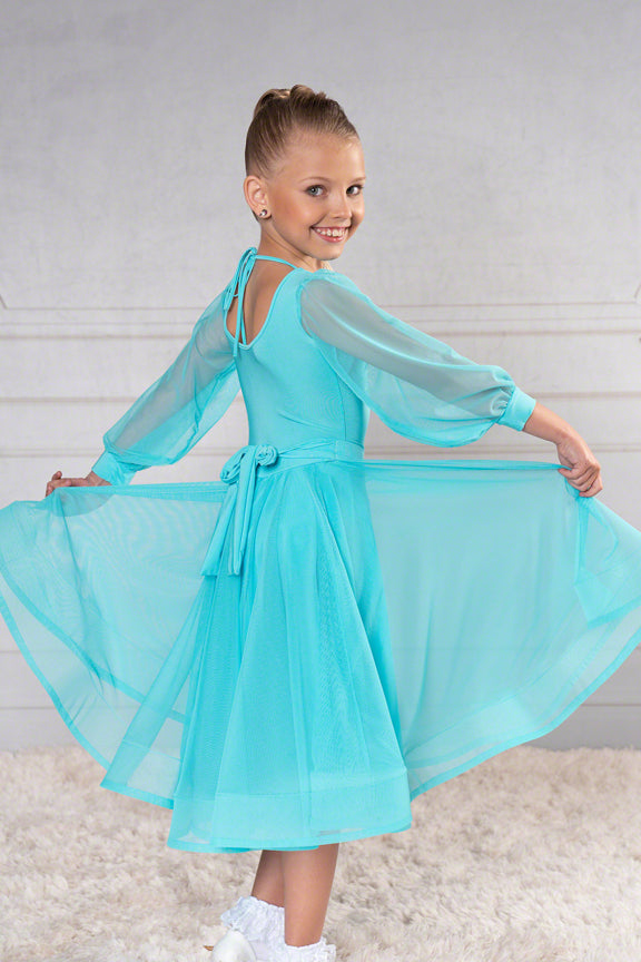 JR-B3 and JR-S2- GIRLS DANCE AMERICA BALLROOM DANCE BODYSUIT WITH MESH SLEEVES AND MATCHING SKIRT MIX AND MATCH