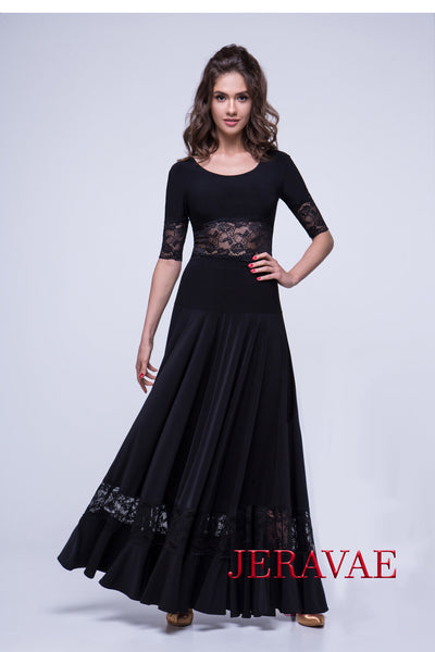 Long Black Ballroom Practice skirt with Lace Panel and Soft Hem Pra561