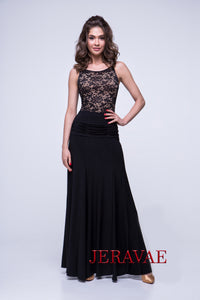 Long Sleek Ballroom Practice Skirt with Rouched Waistline Detail and Soft Hem Pra558
