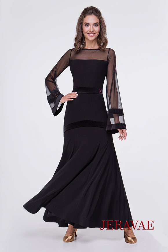 Long Black Ballroom Practice Dress with Stretch Velvelt Detail and Waistband  Available in Multiple Sizes Pra549