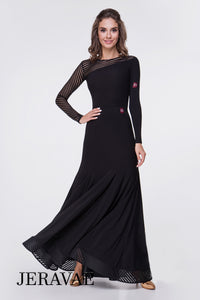 Long Black Ballroom Practice Skirt with Striped Horsehair Hem and Matching Long Sleeve Ballroom Practice Top Pra541
