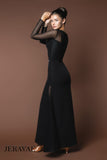 Classy Ballroom Practice Dress with Mesh Panels and Lon Mesh Sleeves.  Zipper Closure Pra618
