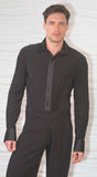 Mens Lurex Sleeve and Side Ballroom Shirt with Built in Bodysuit/Trunks MS1