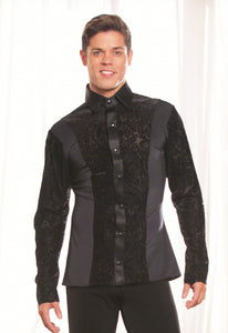 Mens Collared Snap Closure Ballroom Shirt with Velvet Burnout Without trunks MS22