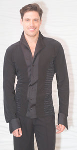Mens Snap Closure Soft Collar Stripe Ballroom Shirt without Trunks MS29