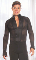 Mens Mandarin Collared Ballroom Shirt With Zipper Closure and Built in Bodysuit/Trunks MS7