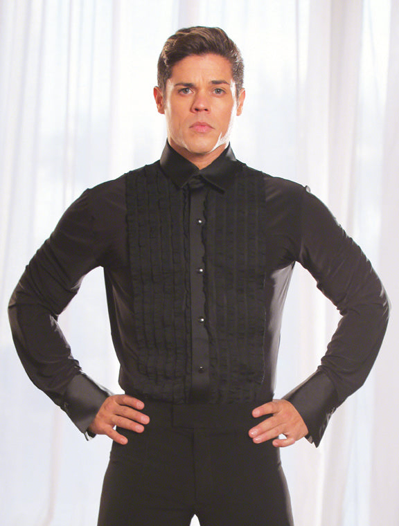 ever popular lovely luster special price for Mens Ruffled Tuxedo Ballroom Shirt With Snao Closure and Built in  BodySuit/Trunks MS8