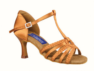 "Ladies Latin Shoe with ""T"" Strap and Braided front Straps with Loop Detail Dance America Madison"
