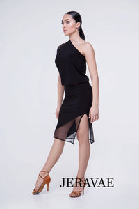 Cute Black Practice Dress with a Side Slit Mesh Sleeve with Polka Dot Detail Pra405