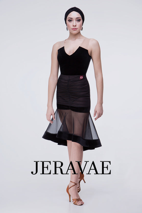 Black Rouched Practice Skirt with See-Through Mesh and Wrapped Horsehair Hem. Add Nude and Black Color Block Practice Bodysuit Top Pra496