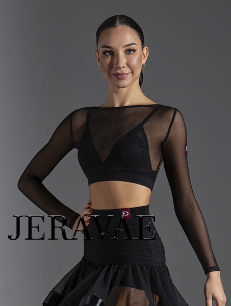Long Sleeve Mesh Practice Top for Ballroom, Smooth, Latin or Rhythm.  Bralet Not Included Pra578