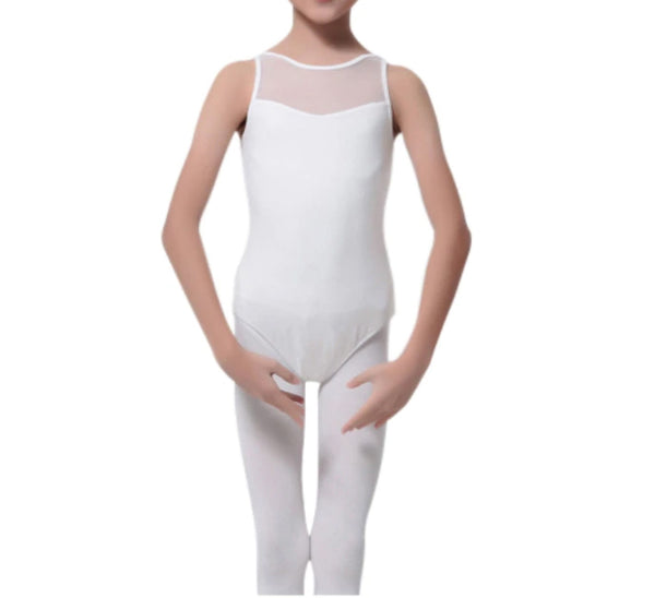 Beatrice Children's Solid White Leotard with Mesh Inserts and Beautiful Strap Design