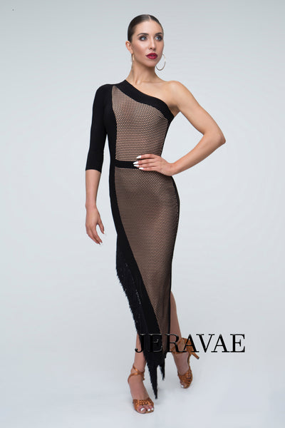 Tan and Black Latin Practice Dress with Mesh and Single Long Sleeve and Fringe Hem Pra303_in