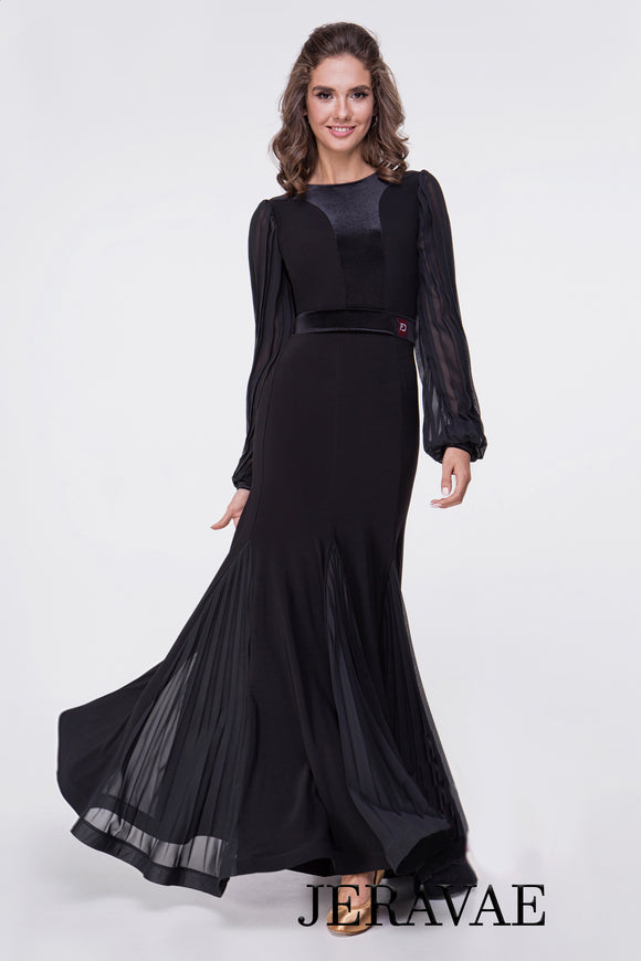 Long Sleeve Ballroom Practice Dress with Pleated Georgette Sleeves and Gussets, Features Satin Pra626
