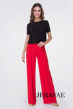 Red or Black Ballroom Practice Pants that Are perfect for Teaching.  Come with Single Pleat Down Front and Back of Each Leg Pra552