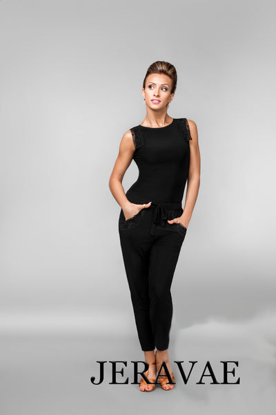 Ladies Latin or Ballroom Dance Pants with Tapered Ankle and Lace Detail on Pocket, Option to Buy Matching Shirt with Lace Cap Sleeves Pra472_in