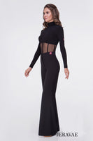 Soft Mesh Corset Style Ballroom Or Latin Bodysuit Practice Top with Long Sleeves and High Collar Pra548