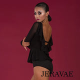 Black Latin or Ballroom Practice Top with Peplum and Back Ruffle Detail, Includes Bodysuit Pra664