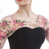 Victoria Adult Ballet Leotard with Black Cotton and Pink Floral Mesh 3/4 Length Sleeves
