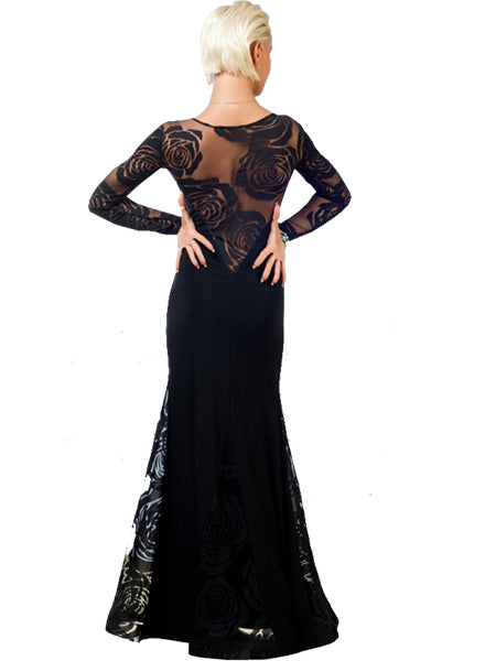 Long Black Ballroom Dress with Floral Rose Stretch Mesh Detail and Gussets SzL in stock