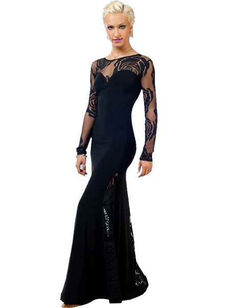 Long Black Ballroom Dress with Floral Rose Stretch Mesh Detail and Gussets SzL in stock Pra096