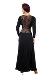 Long Sleeve Ballroom Practice Dress with Lace Waistline Accent and Back  Pra094