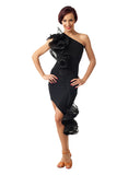 3 Dimensional Asymmetrical Ruffle Ballroom/Latin Practice Skirt and Matching Off Shoulder Top Sz L Pra031