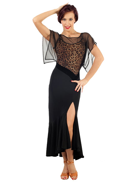 Ballroom/Latin Practice Dress with Leopard Print top and Slitted Skirt Sz L Pra093