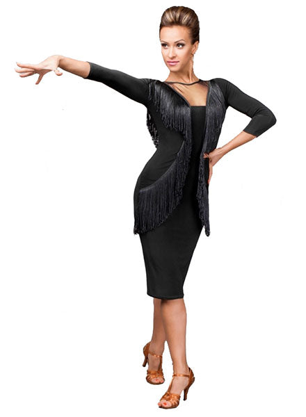 Fringe Latin Practice Dress with Meh Detail on Front and Back and Pencil Skirt with Slit Pra136