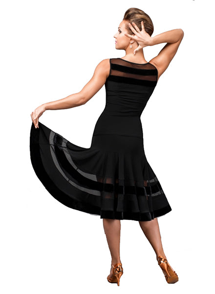 Black Latin Practice Ballroom Skirt with Striped Cutouts in Mesh Pattern Sz XL