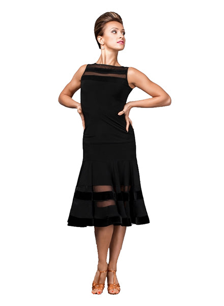 Black Latin Practice Skirt with Striped Cutouts in Mesh Pattern and Velvet Detail  Pra030