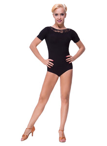 Black Ballroom Practice Leotard with Lace Neckline and Short Sleeves Sz M