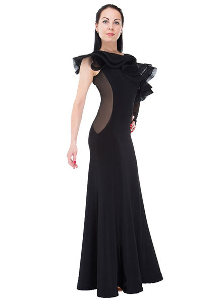 Ruffled Asymetrical Shoulder Practice Ballroom Dress Long Sleeve on one side Pra090