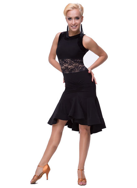 Sleeveless Latin Practice Dress with Lace Detailing and Rouched Skirt Pra131