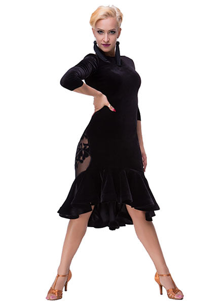 Black Velvet Latin Practice Dress with Ruffle Hem, Mesh Floral Cut Outs and Long Sleeves Pra132