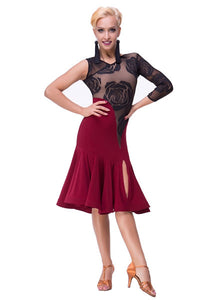 Red and Black Latin Practice Dress with Rose Mesh and Slitted Skirt Sz L Pra133