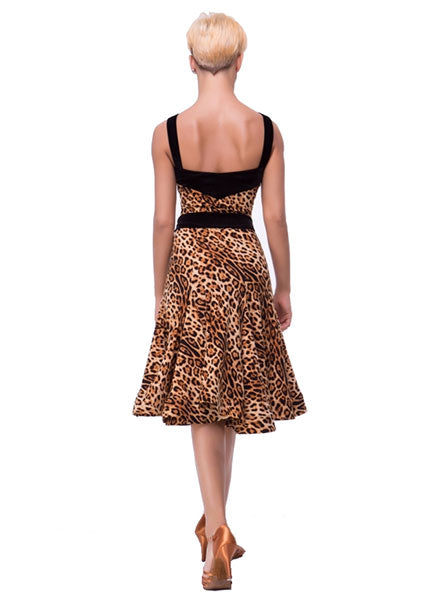 Leopard Print Latin Practice Dress with Sash Belt and Horsehair in the hem Sz S