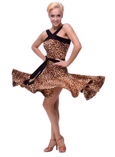 Leopard Print Latin Practice Dress with Sash Belt and Horsehair Hem Available in Multiple Color Options Pra134