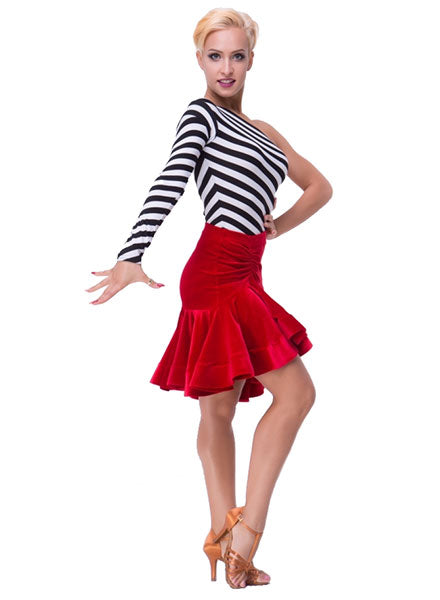 Full Red Latin Practice Skirt with Rouched Waist and Covered Horsehair Hem Sz M, L