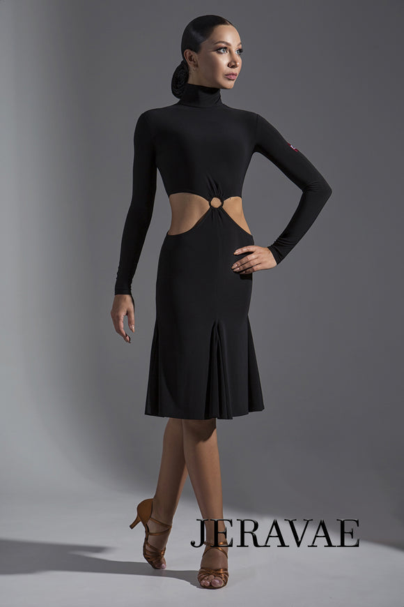 Long Sleeve 2 Piece Latin Practice Dress with Multiple Skirt Color Options and Ring Detail on Front Pra397