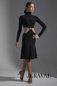 Long Sleeve 2 Piece Latin Practice Dress with Multiple Skirt Color Options and Ring Detail on Front Pra397_in