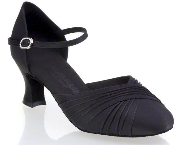 Rounded Toe 2 inch Flared Heel Smooth Shoe by Dance feel R346