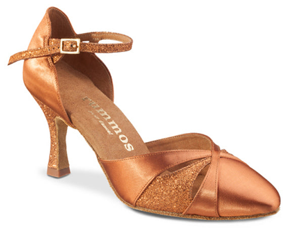 Dance Feel Dark Tan Satin and Glitter Smooth Shoe with 2.5 Inch Heel R405