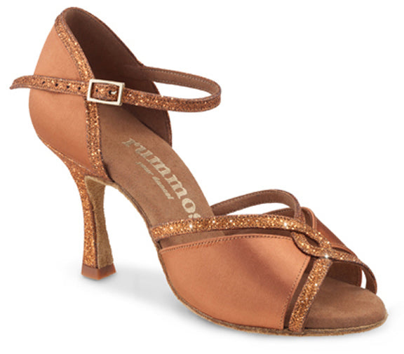 Dance Feel Dark Tan Satin and Glitter Rhythm Heel R550 with 2.5 Inch Heel