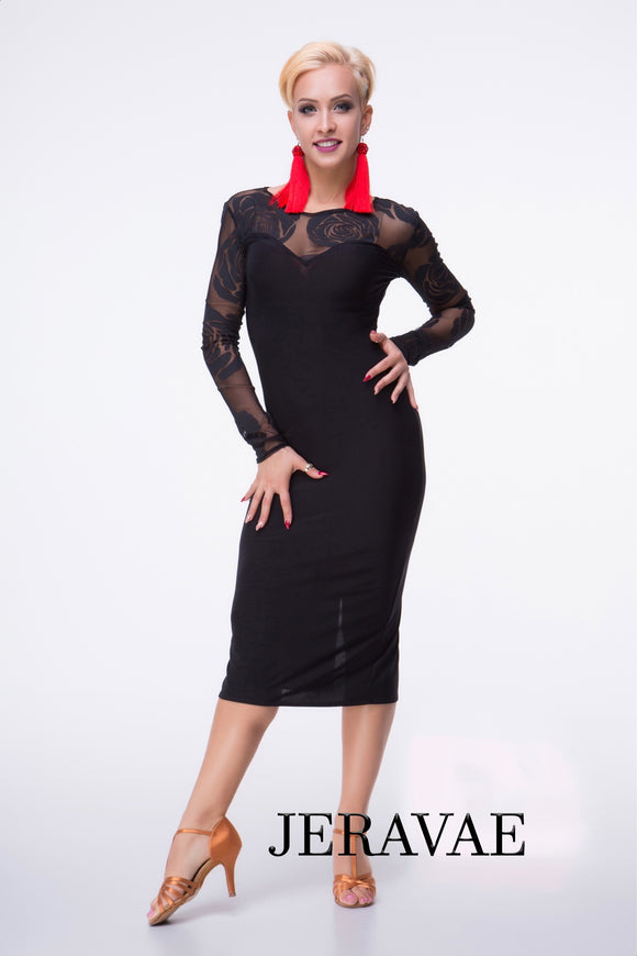 Sleek Black Latin Practice Dress with Mesh Neckline and Sleeves with Black Rose Pattern Pra402