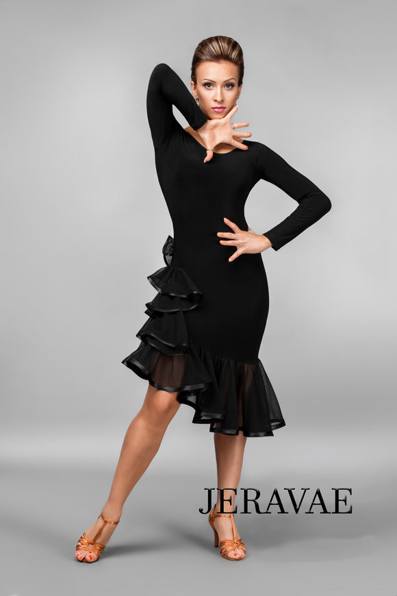 Black Long Sleeve Practice Dress with Ruffle Skirt Starting at the Hip Pra407_in