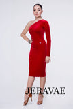 Red Velvet Calf-Length Latin Practice Dress with Single Long Sleeve and Single Bare Shoulder Pra393