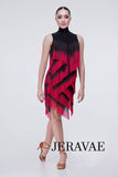 Black and Red Velvet Ombre Zig Zag Fringe Latin Practice Dress with High Collar Pra357