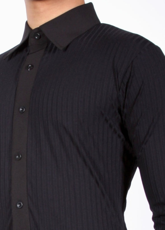 Black Ribbed Stoned Latin Shirt